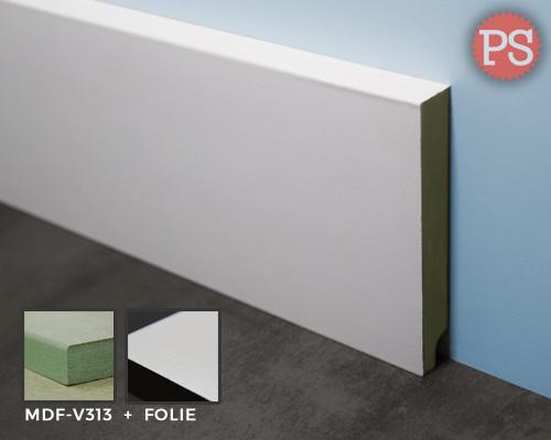 witte gladde folie plint mdf-v313 + folie